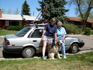 Mom, Borage, Jigs (he's in the car), and I leaving for 2 weeks of talks in Texas.