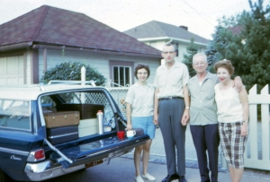 Mom, Dad, Grandpa Land, and Aunt Dot ready to drive WEST. Indianapolis, 1967.